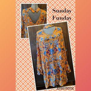 Bell-sleeve Boho dress or tunic (XL)
